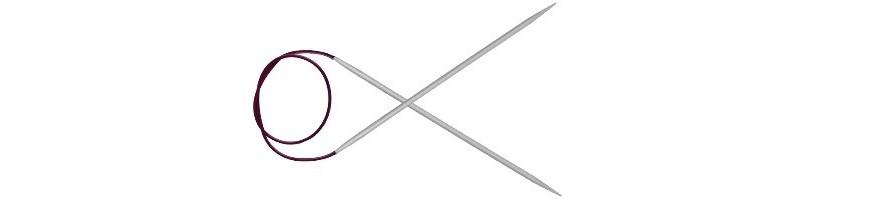 100 cm - Basix Aluminium Fixierte Rundstricknadeln